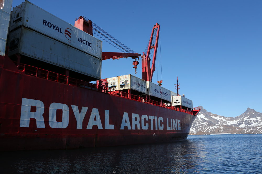 A Royal Arctic Line shipping boat docked in Tasiilaq port, Greenland.
