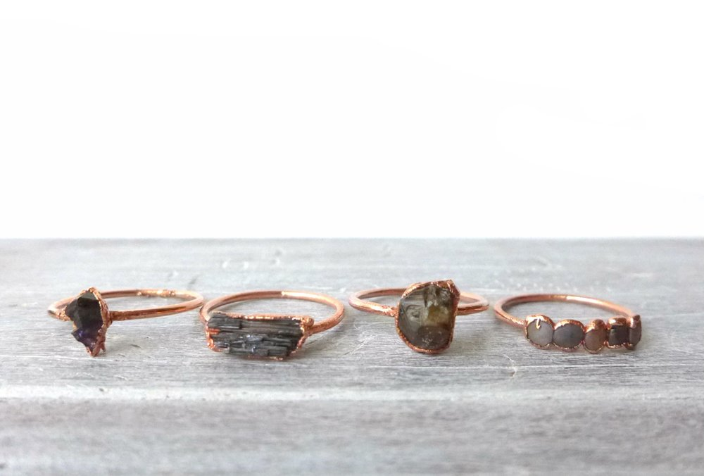 Copper Electroformed Gemstone Rings