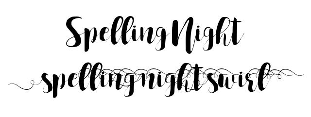 Spelling Night Fonts