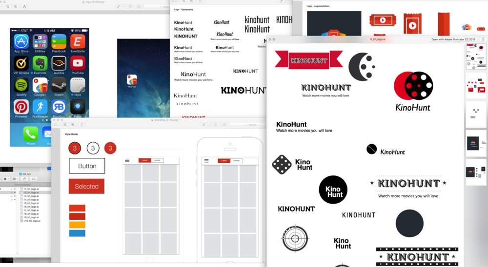 Lots and lots of logo and brand iterations