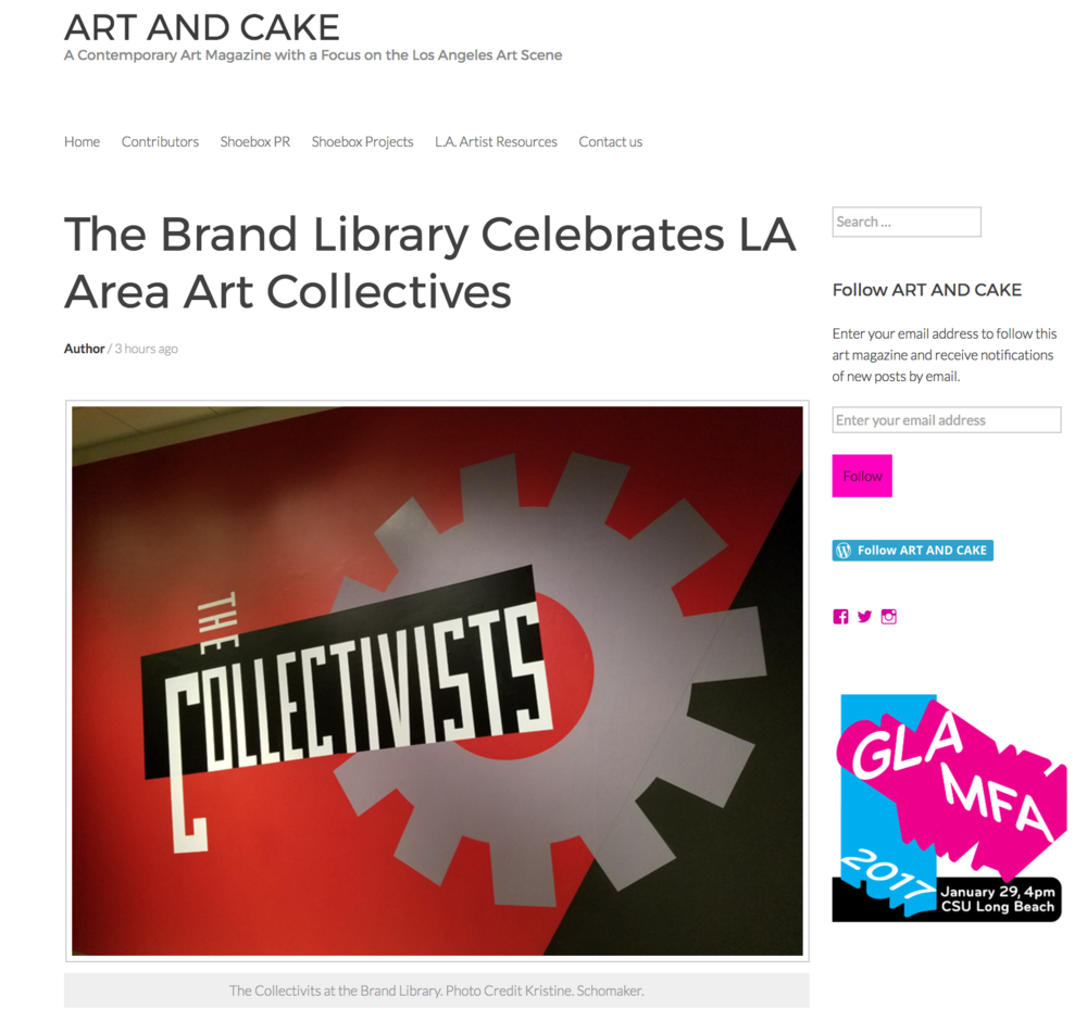 Read the recent article in Art and Cake about the Collectivists