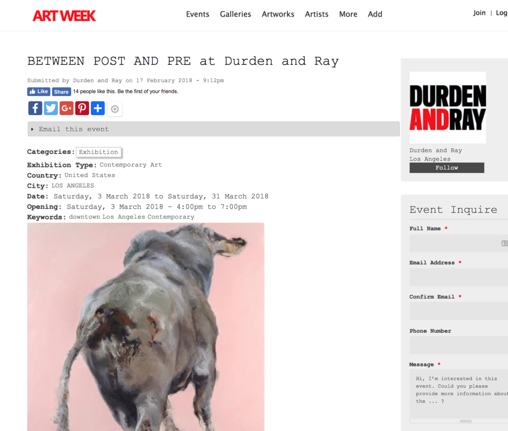 Featured in Art Week - Durden and Ray (Los Angeles) and HilbertRaum (Berlin) present