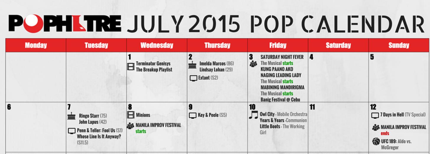 July Pop Calendar sample
