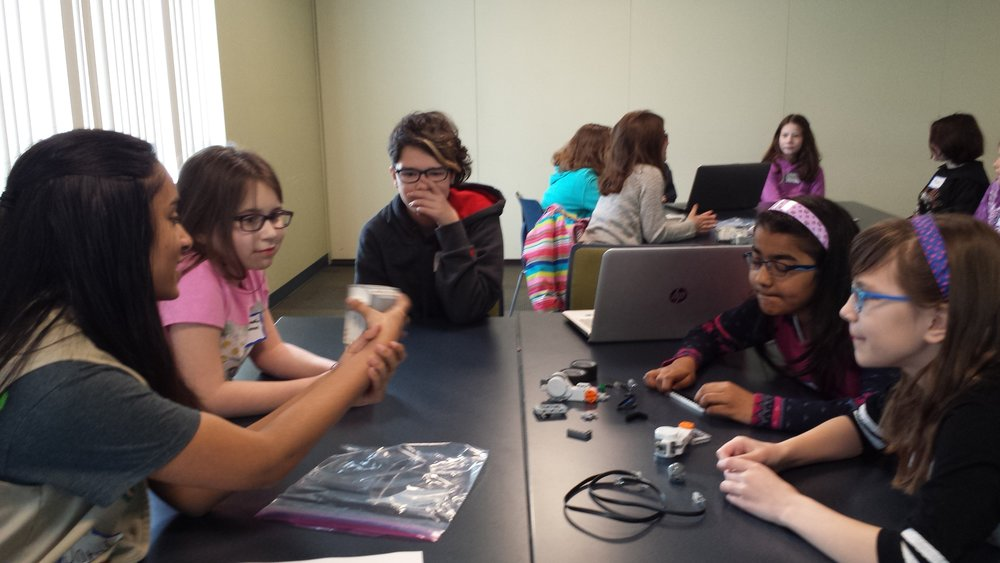 Sarah explains the different components of a Lego Mindstorms robot. Girls Robotics Camp, March 2017.