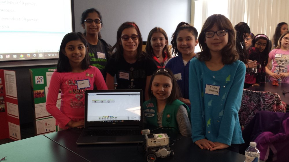 Susan and her team's successful program! Girls Robotics Camp, March 2017.