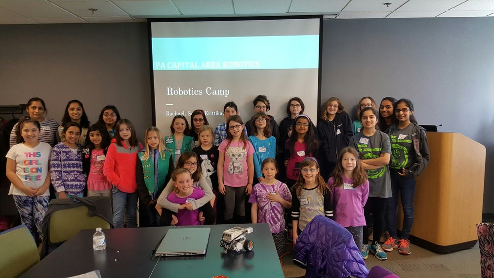 All the amazing participants of our camp! Girls rock! Girls Robotics Camp, March 2017.
