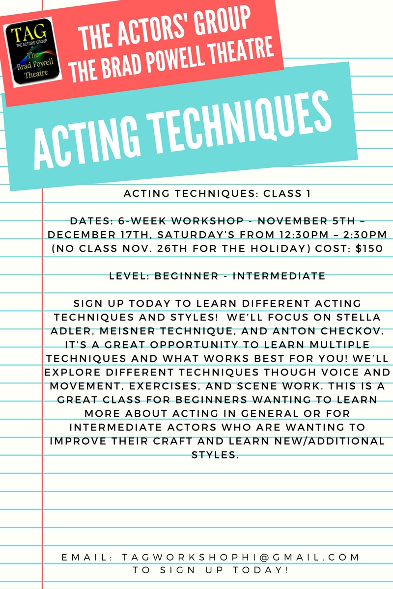 Audition and Acting Workshops at TAG — Hitting The Stage