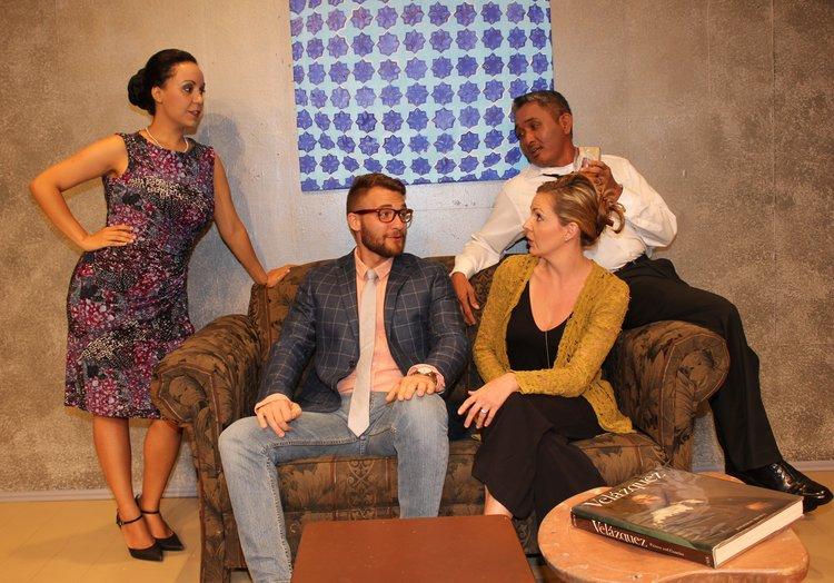 (l-r) Victoria Brown-Wilson, Max Holtz, Courtney Coston and Troy Apostol in TAG's Disgraced. Photos courtesy of Michele Van Hessen.