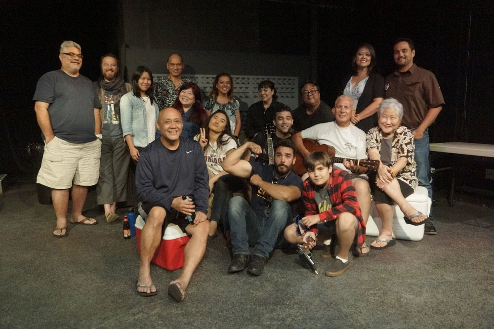 The full cast and crew of Lee Cataluna's Uncle's Regularly Scheduled Garage Party is CANCELLED Tonight at Kumu Kahua Theatre.