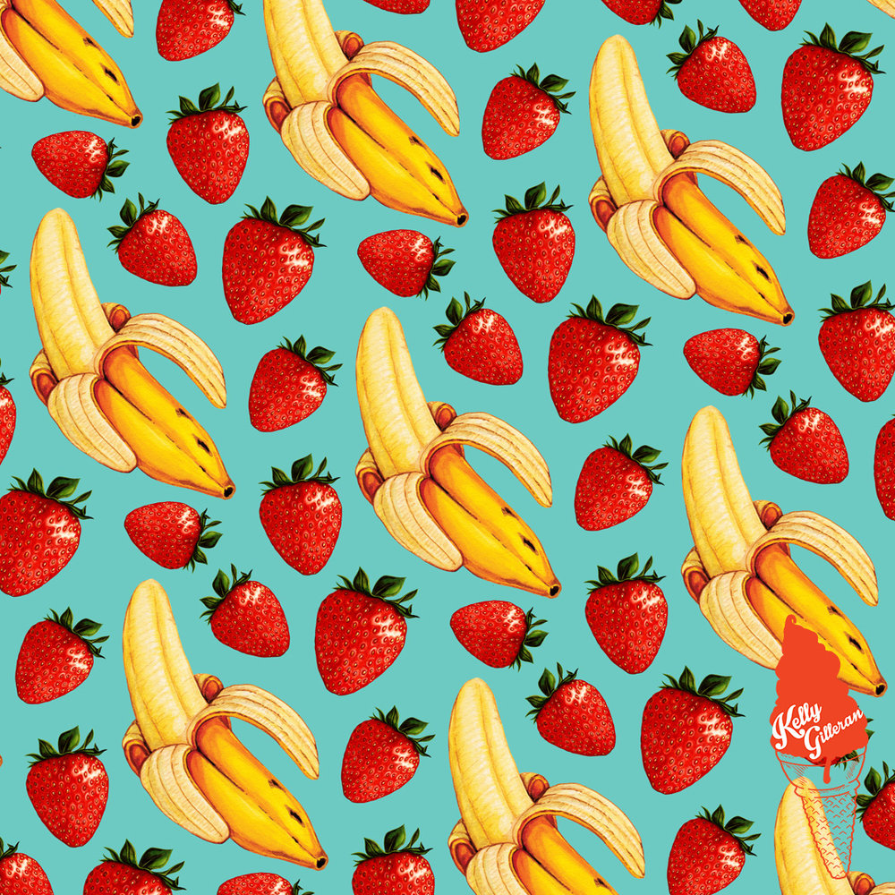 """Strawberry Banana Pattern - Blue"" 2016."