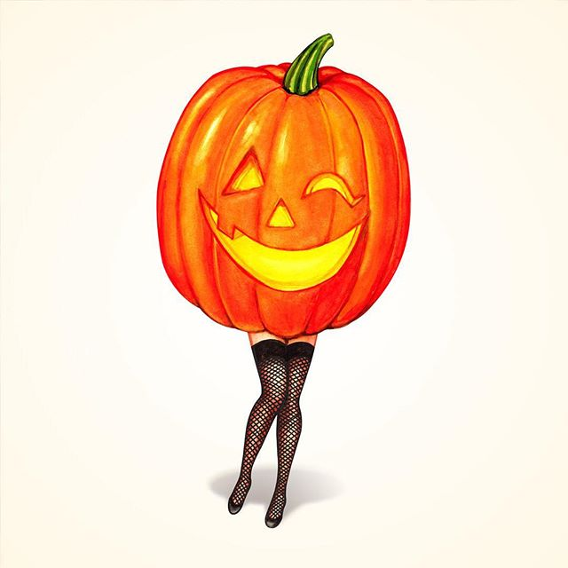So excited for #halloween 🎃! Pumpkin Pin-Up & Pumpkin Pattern now available on @redbubble @society6 & @spoonflower