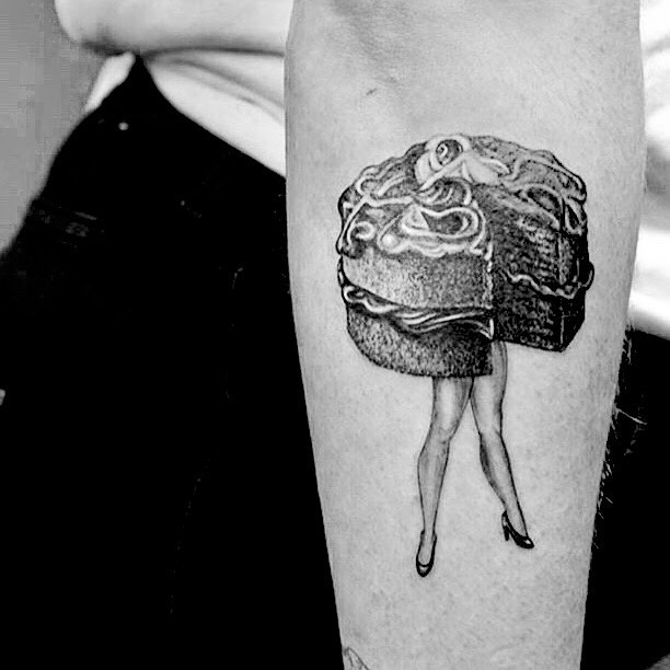 """Guys! Check it out! @prinsessefridus got a tattoo of one of my """"Cake Walk"""" girls! 😍♥️!"""