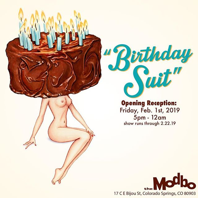 """You're invited!  If you are in the #ColoradoSprings area this Friday please join me for the opening of my solo show, """"Birthday Suit"""" at @themodbo ! Come enjoy some art & cake just in time for my 29th 🎂  Lots of new paintings, older paintings and product available! See you there 🥳♥️"""