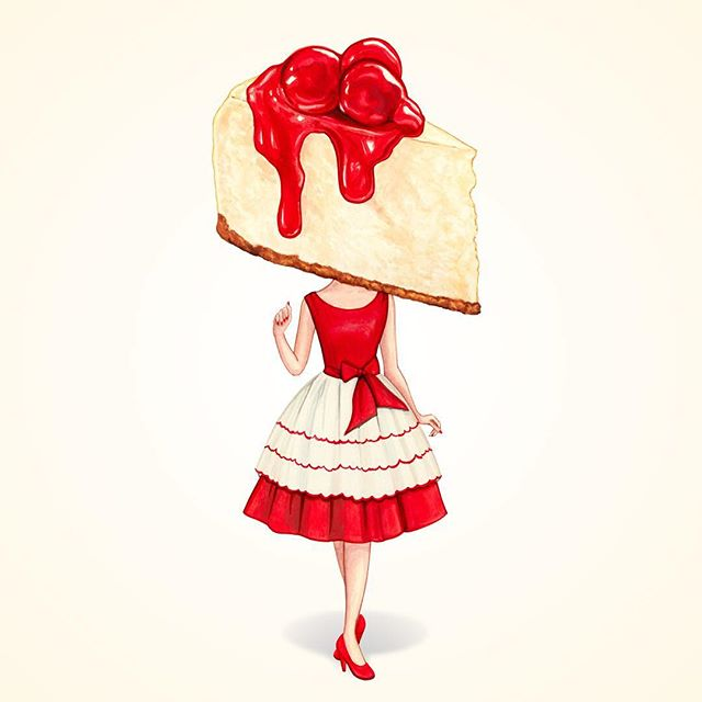 """Making her gallery debut this evening at @themodbo : """"Cake Head Pin-Up: Cherry Cheesecake""""  If you're in Colorado Springs this evening be sure to make it to my opening!"""