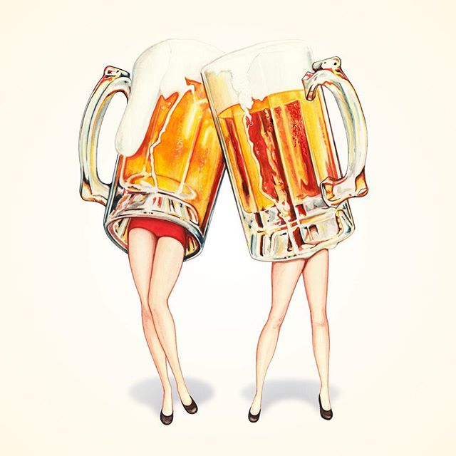 """It's #Friday ! 🍻 """"Cheers! Beer Pin-Ups"""" now available on @society6"""