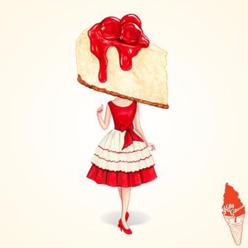 """""""Cake Head Pin-Up: Cherry Cheesecake"""" 2019."""