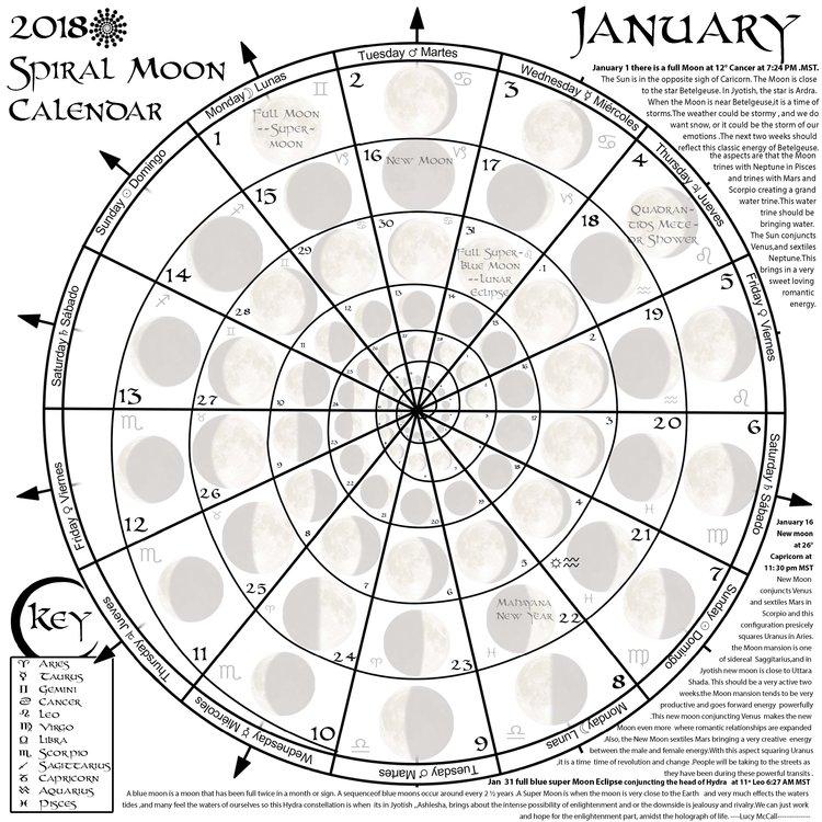 Spiral Moon Calendar Tribal Vision 2019