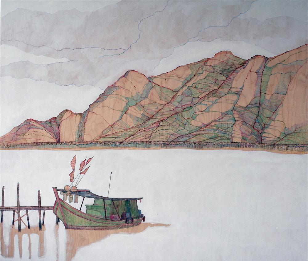 Malaysian Borneo / pencil and acrylic on plywood /