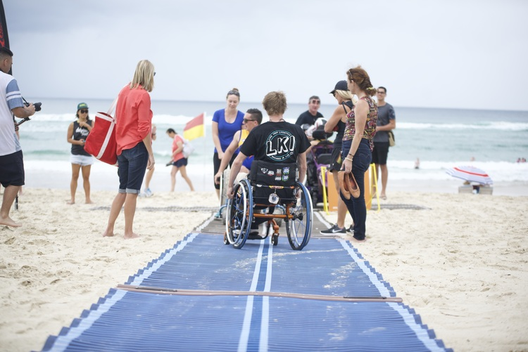BURLEIGH HEADS BEACH   Gold Coast -  Features  Accessible Beach Matting Accessible Bathroom (SLSC) Accessible Parking Floating Beach Wheelchair Sandcruiser Beach Wheelchair