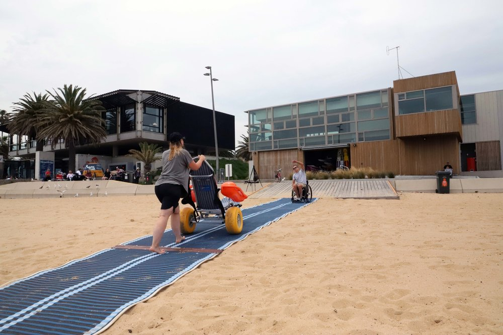 ST KILDA BEACH  10 mins south of Melbourne -   Features  Accessible Beach Matting Mobi-Chair Beach Wheelchair Changing Places Accessible Bathroom