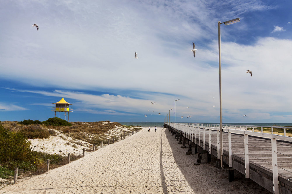 SEMAPHORE BEACH   Adelaide Beaches -   Features  Matting on trial through dunes to soft-sand