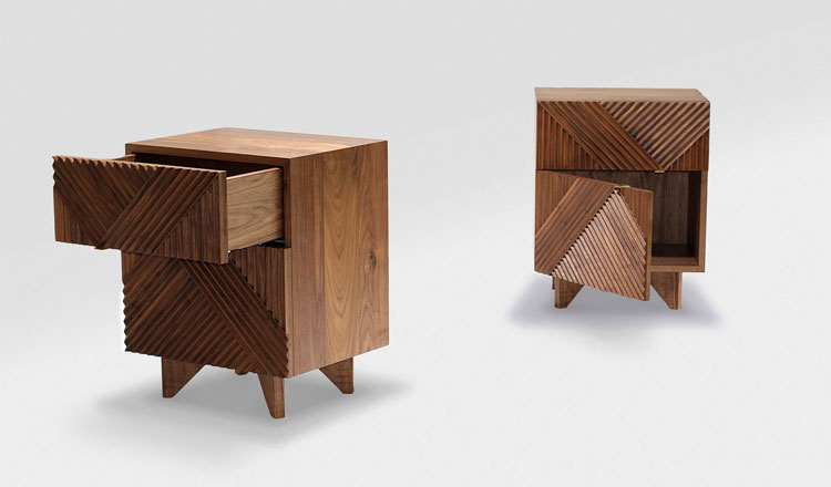 This is the Enzo Side Table designed by Rosanna Ceravolo, from Melbourne VIC.  The routered texture on the front creates an amazing geometric pattern.  The American Walnut's finished in natural Danish Oil.