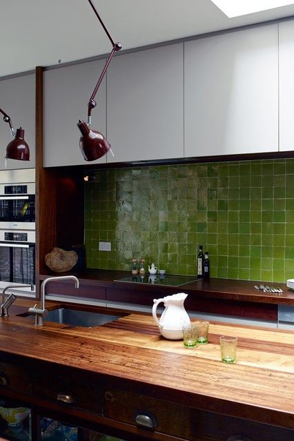 Greenery tiled splashback