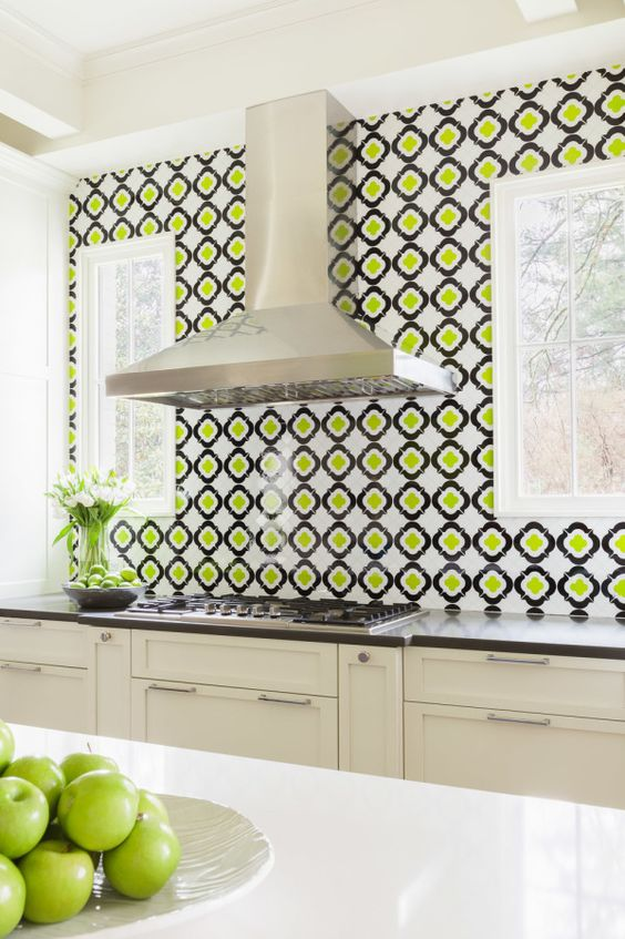 Greenery pattern splashback