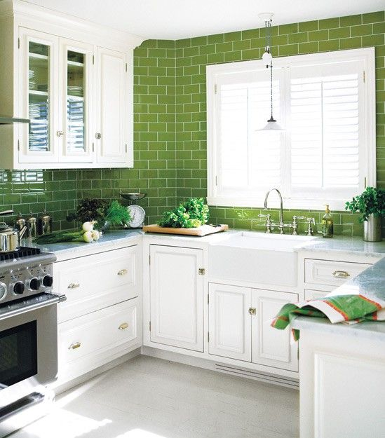 Greenery subway tiles