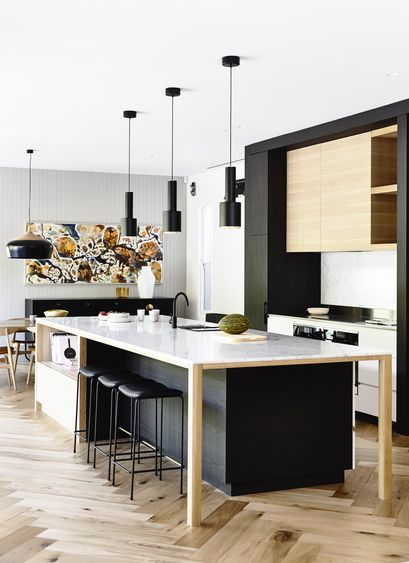 Black also emphasises the emotional content of other colours.  It can form a powerful, sharp outline on decoration.  You could use it to emphasise your hardware and light fittings.  It also combines well with metal, glass and wood.     via  australianinteriordesignawards.com