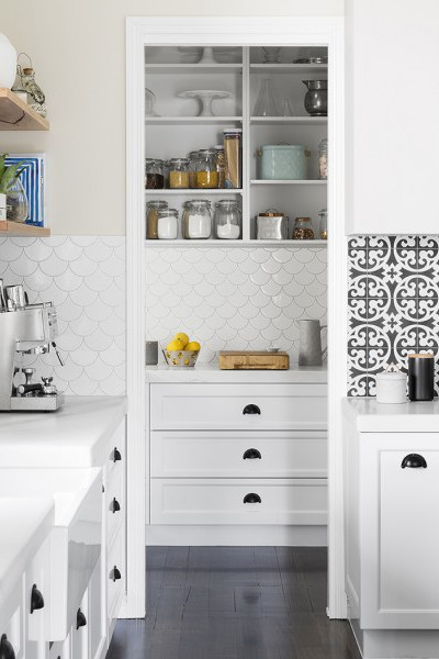 I adore these white fish scale tiles on the splashback. They continue from the kitchen into the pantry for a cohesive look. | designed and made by:  giarenovations.com.au