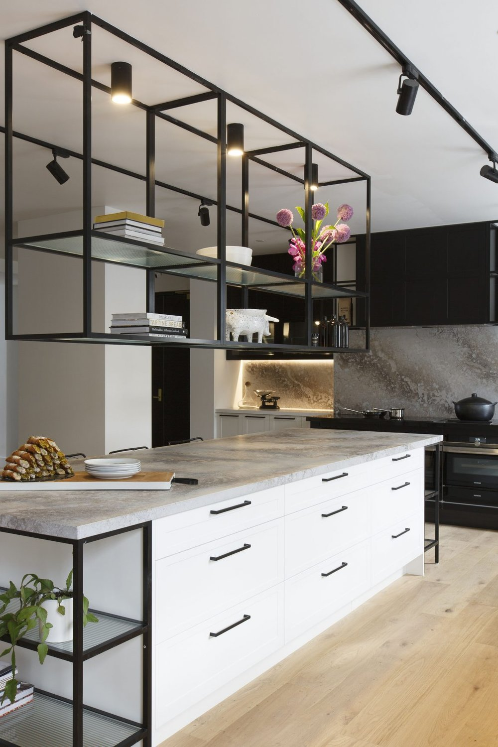 This is the kitchen that goes with it (which I adore by the way). The only thing is, the fridges are miles away, in the butlers pantry across the hallway. A big fail. They should have at least put a bar fridge in the kitchen. |  source