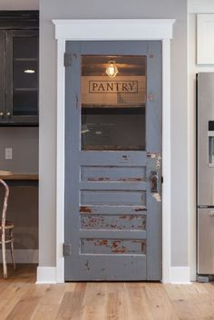 Another remarkable yet recycled pantry door. It especially suits a farmhouse kitchen setting.  I couldn't find the source for this photo but didn't Joanna Gains from Fixer Upper start this trend?