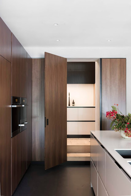 Surprise and delight. For a secret door to the butlers pantry, integrate it into your kitchen joinery. | designed by:  Minosa