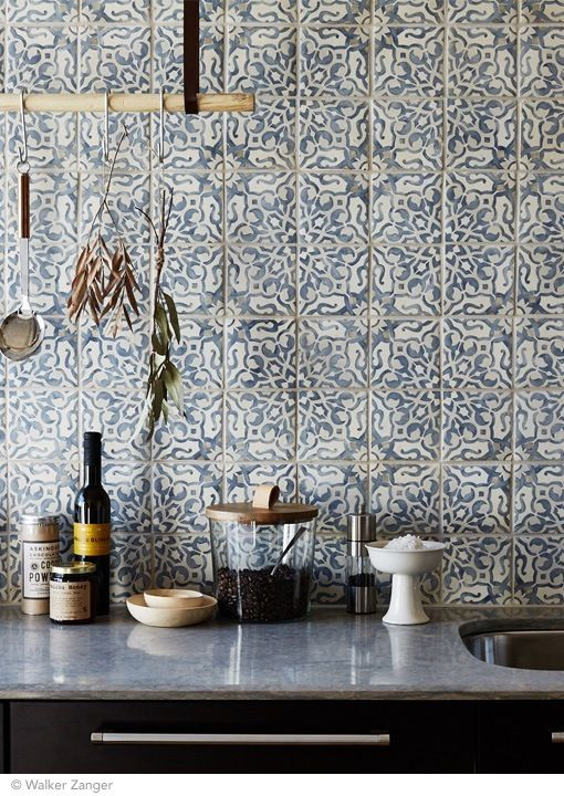 Dusty blue, grey and white  Duquesa Cement  tiles. According to the manufacturer, the  Fatima  design shown here draws inspiration from 16th century Italian textiles, Portuguese tile, and Moorish mosaics.