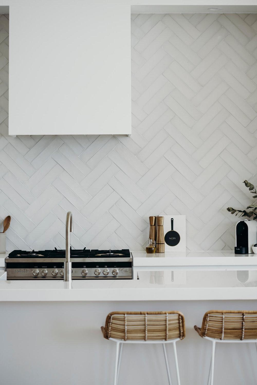 Herringbone variation using twin handmade tiles. Image credit:  Salt at Shoal Bay
