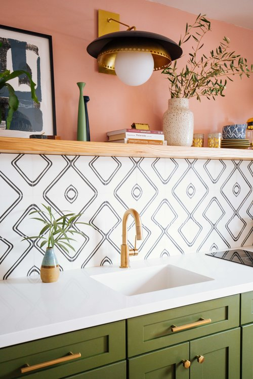 Black and white Moroccan cement tiles in this colourful kitchenette. Blogger and designer:  Old Brand New