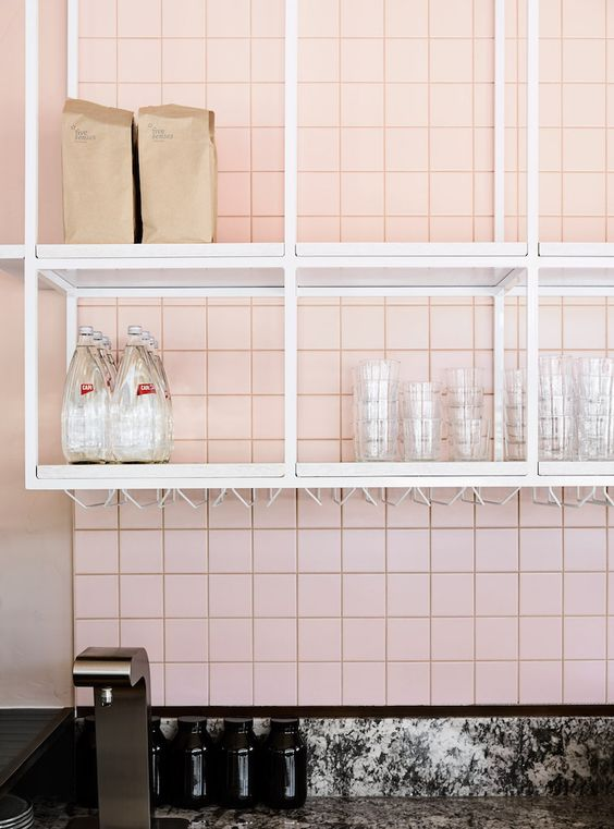 Tuscan pink tiles feature in this stylish Melbourne cafe. Interior Design:  Golden