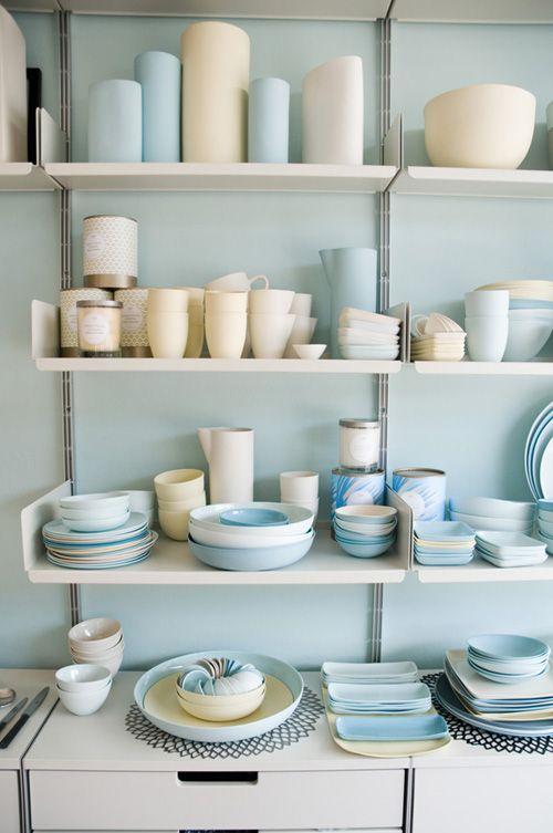 Soft blue looking wonderful behind these shelves in the  Mud Australia  shop.  Jillian Leiboff