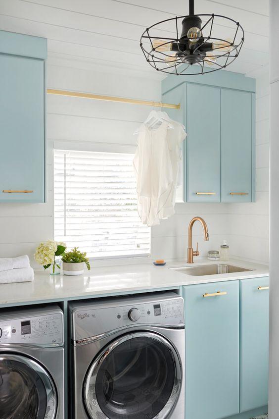 Brass hanging rod across the window between two overhead cabinets. |  Soda Pop Design Inc