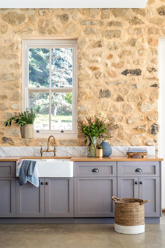 Rustic yet contemporary Shaker door kitchen. It has solid American Oak cabinets, grey washed with Porter's Paints Wood Wash in Silver Birch. |  Georgie Shepherd Interior Design