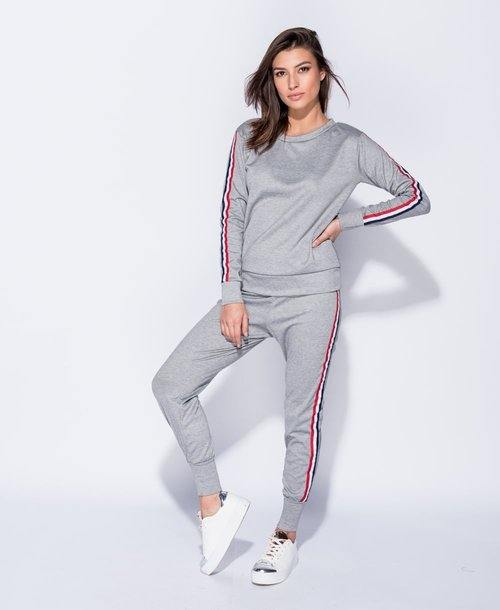 af7c010d66 Melanie Grey Striped Loungewear Set
