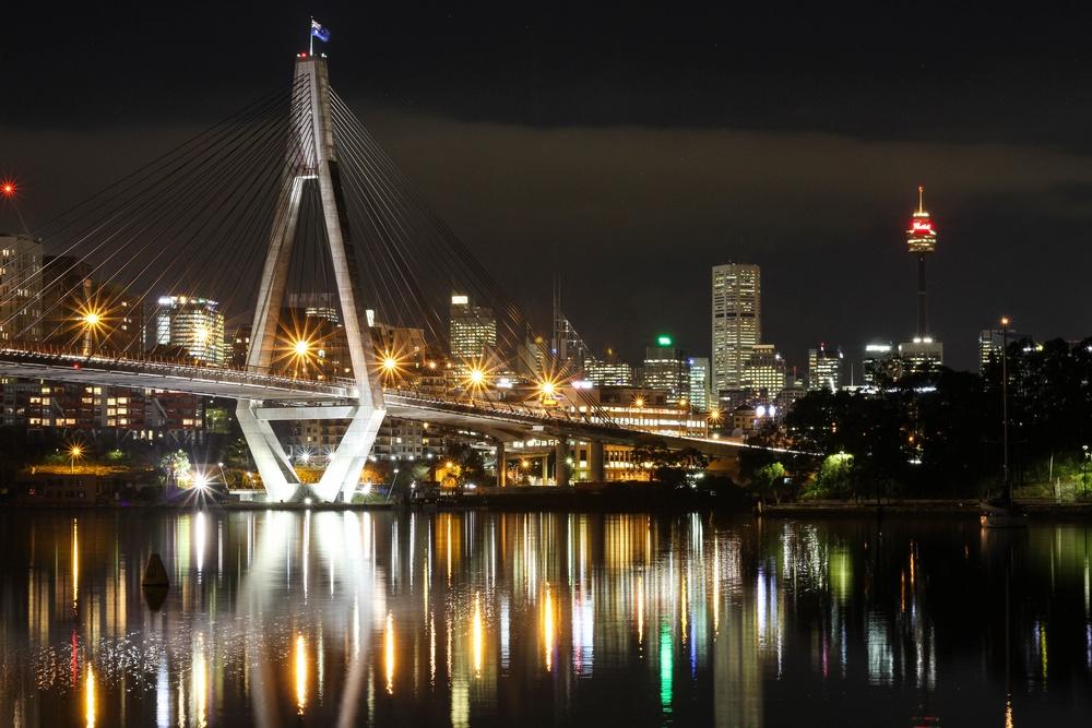 Anzac Bridge at night in Sydney