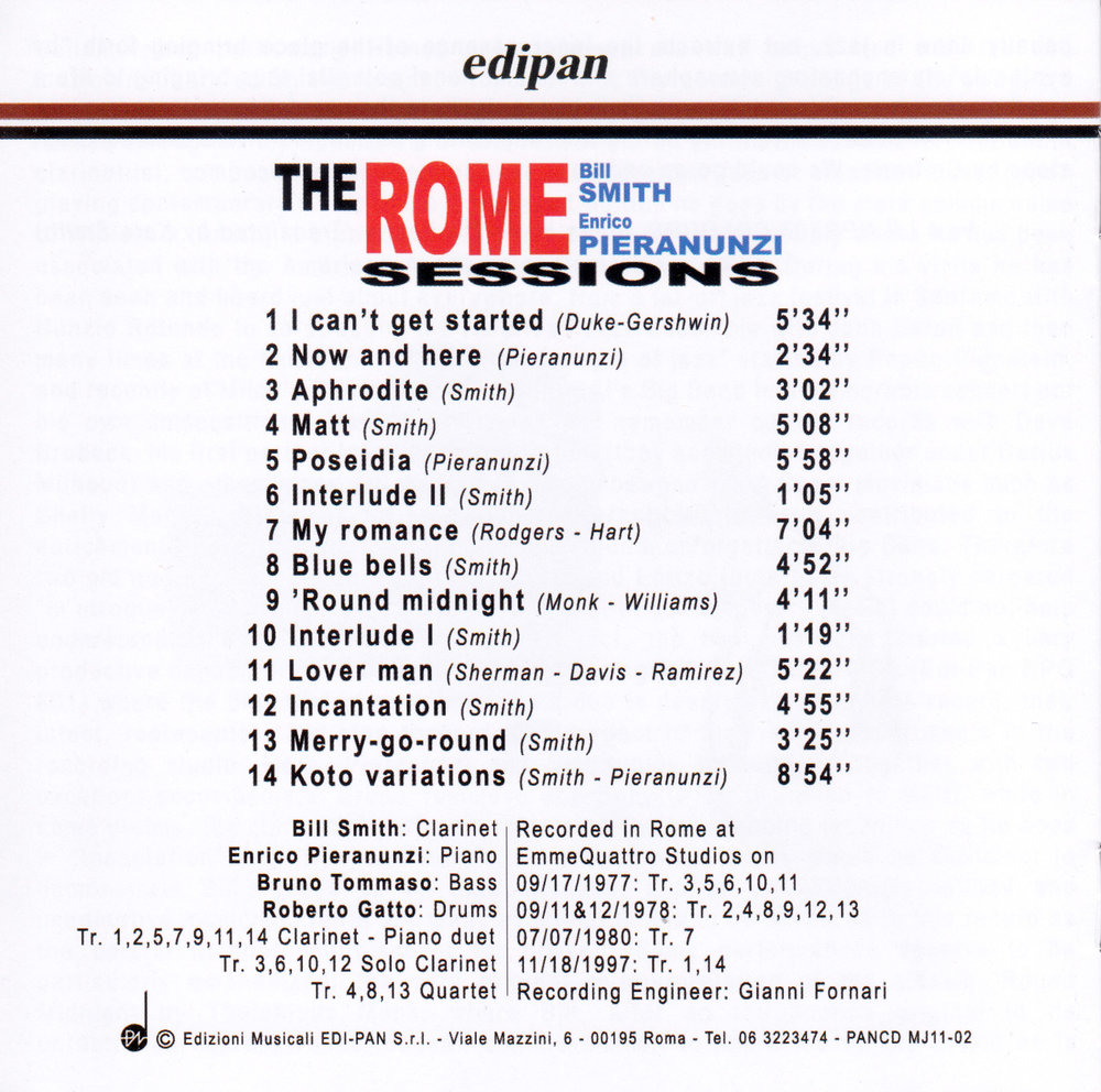 THE ROME SESSIONS PIERANUNZI SMITH CD BACK