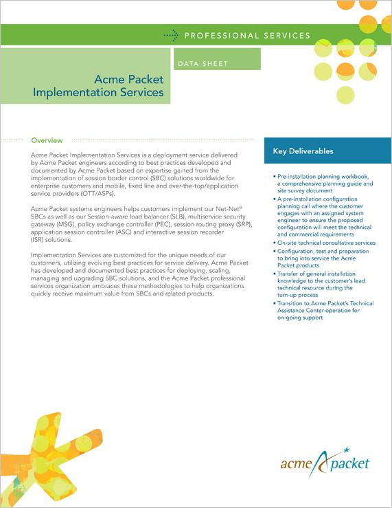 Data Sheet   Acme Packet
