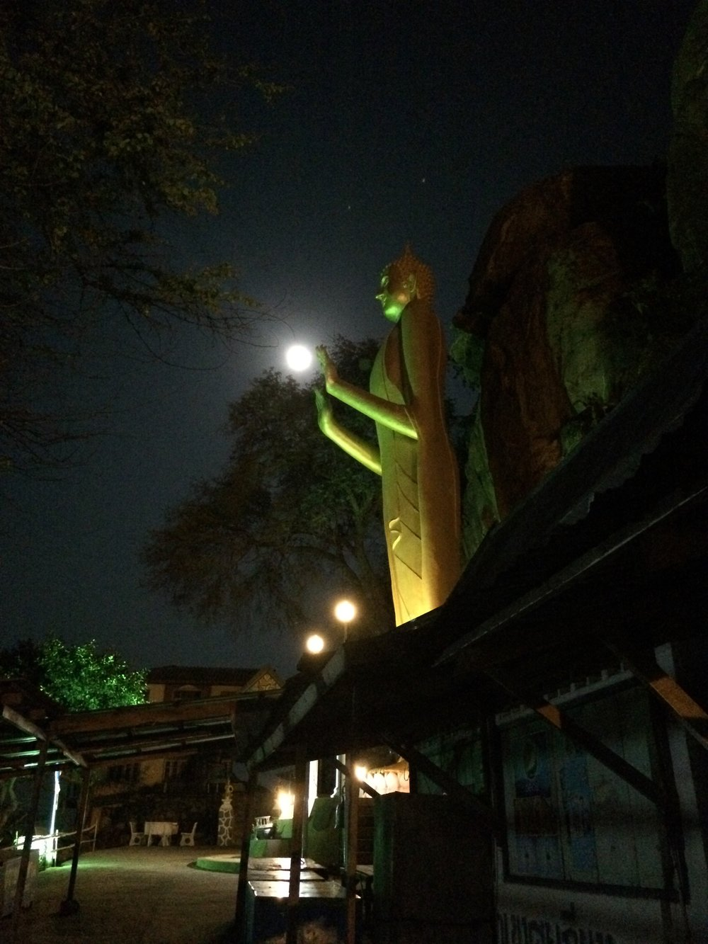 Full moon at the base of monkey mountain in hua hin