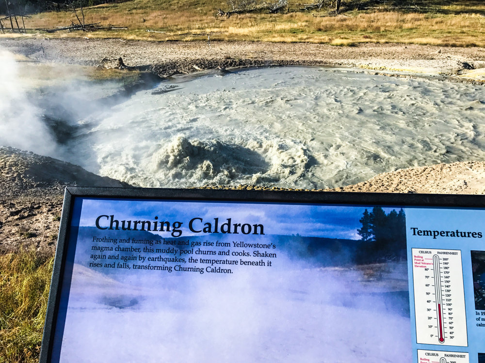 The Churning caldron -- one of many hydrothermal features at mud Volcano!