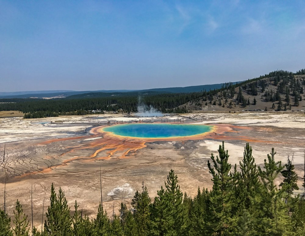 View of the grand prismatic spring from the fairy falls trail overlook
