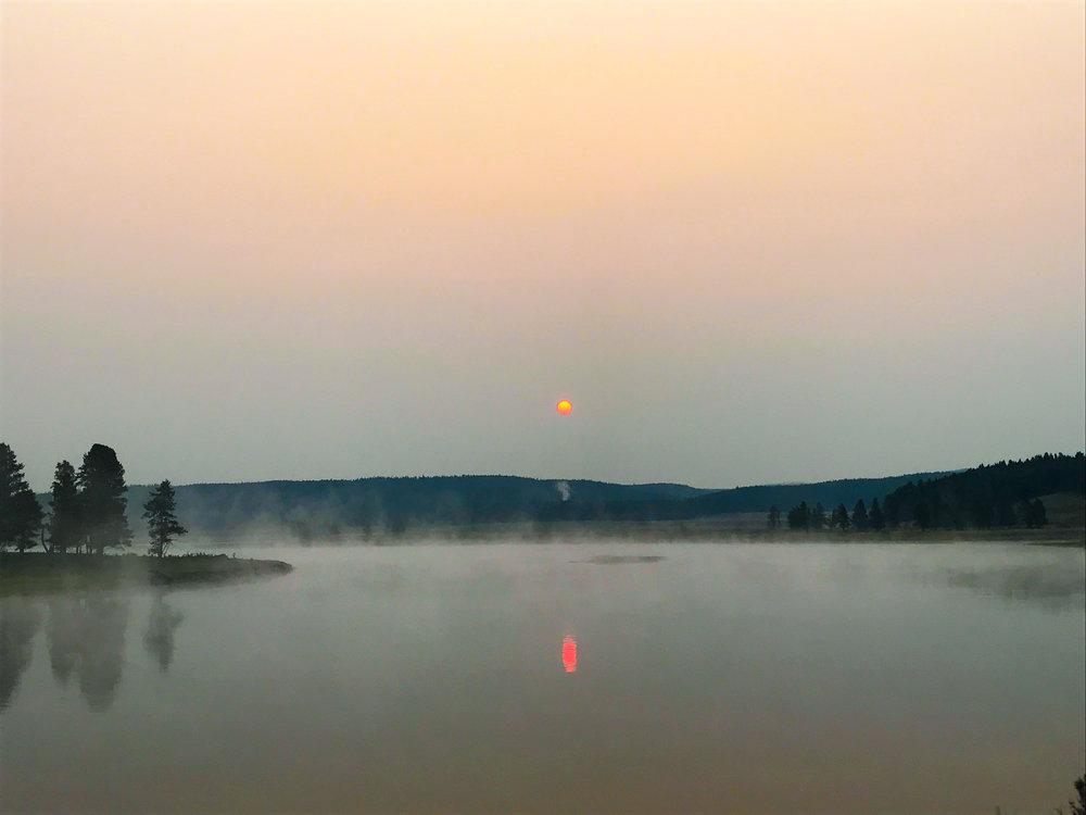 The beautiful steamy sunrise