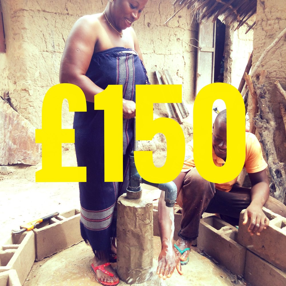 663 million people - 1 in 10 - lack access to safe water. £150 will enable a family to have a source of safe water at their own home. Your gift will cover the costs of all the materials needed to not only drill a well but also construct and install a pump. See also the  '1Year - 1 Well' Program